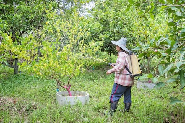 保護衣なしに農薬を散布する農家。