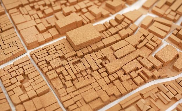 建築コルクから作られた小さな都市モデルダミー