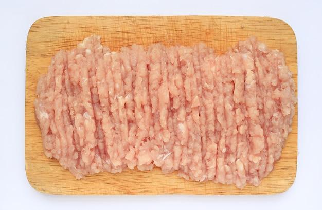 生の刻んだ豚肉、上の眺め。