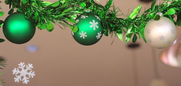 クリスマスボールと窓ガラスにぶら下がっている松の枝。