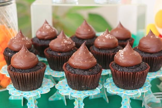 塩と砂糖のアイシングとチョコレートのカップケーキ