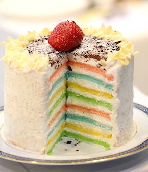 レインボーケーキをクローズアップ