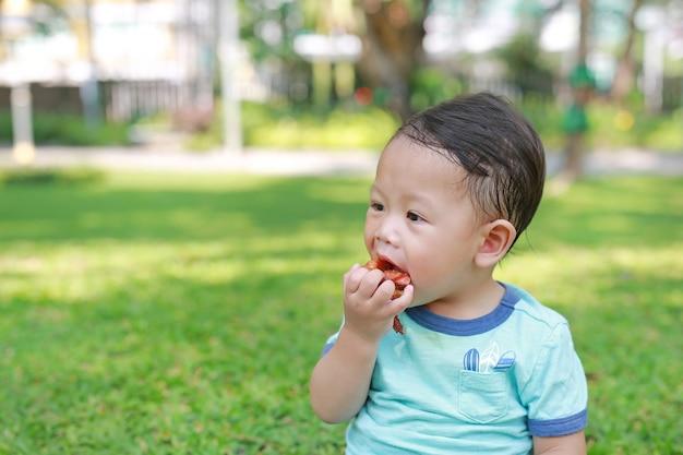 Азиатский ребёнок наслаждается съесть жареную курицу в зеленом саде внешнем.