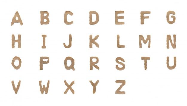 Установите шрифт буквы алфавита коллекции, изолированные на белом фоне. английская плоская коричневая рваная бумага от а до я
