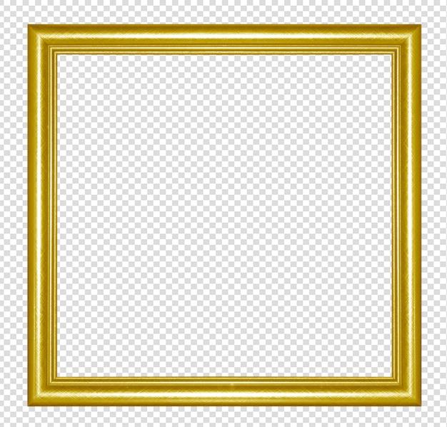 Золотая деревянная рама, изолированная на прозрачном