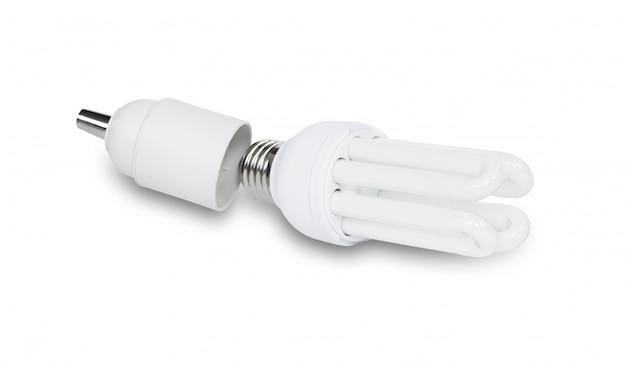 白で隔離されるコンパクト蛍光灯