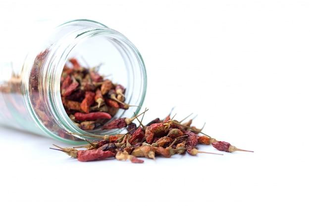 Сушеный красный чили, изолированный на пряный вкус