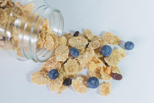 ベリー果実とレーズンを混合した全粒穀物フレーク