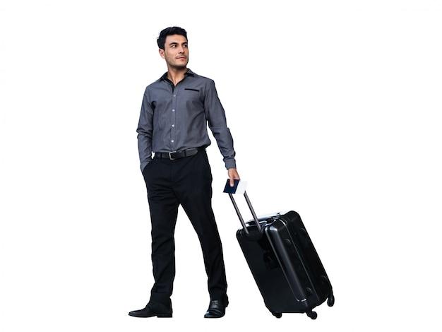 Бизнесмен волоча багаж, изолированные на белом