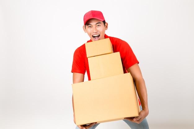 ハッピーデリバリーマンの箱。白い背景で隔離されています。