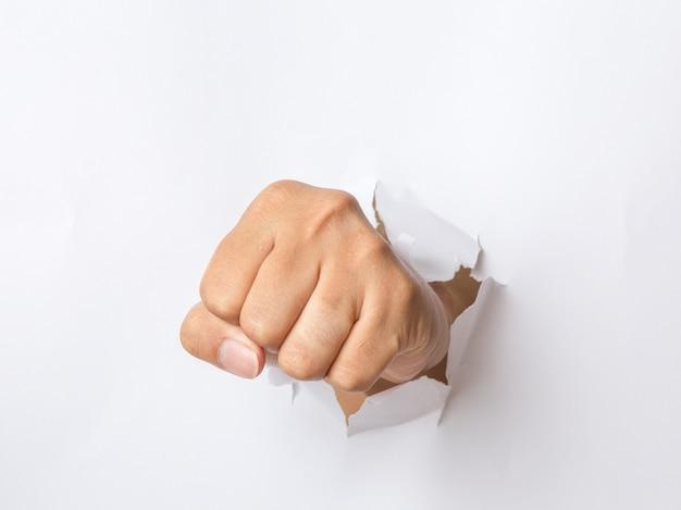 Рука, пробивая бумагу
