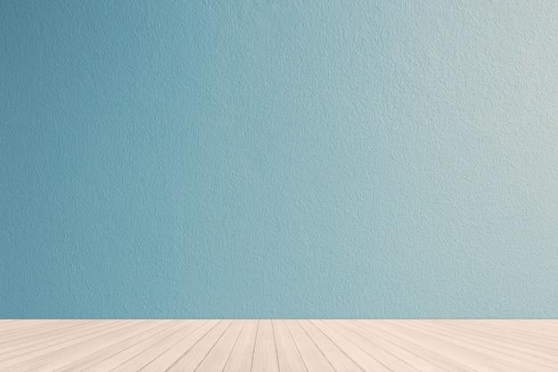 青いパステル調の壁とインテリア