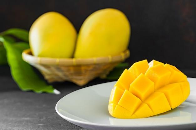Ломтики манго на белой тарелке