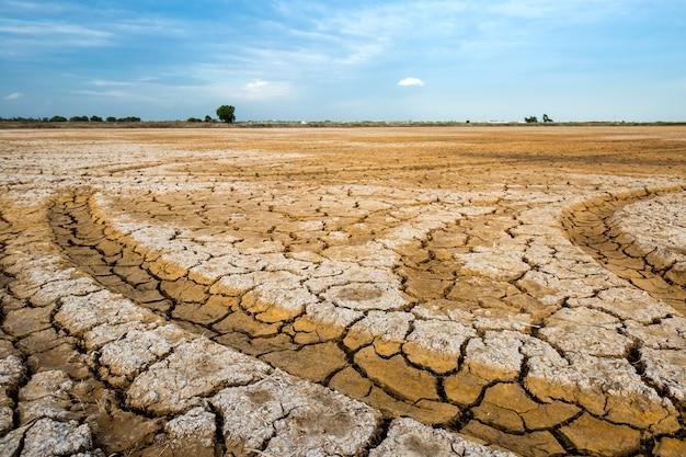 乾いた土と亀裂のある土地。