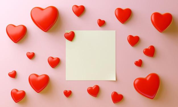 多くの赤いハートと中央に白紙、ピンクの背景。バレンタインの甘いコンセプト。