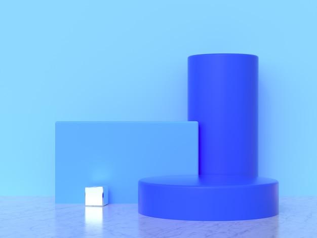 水色の壁の抽象的な幾何学的形状セット