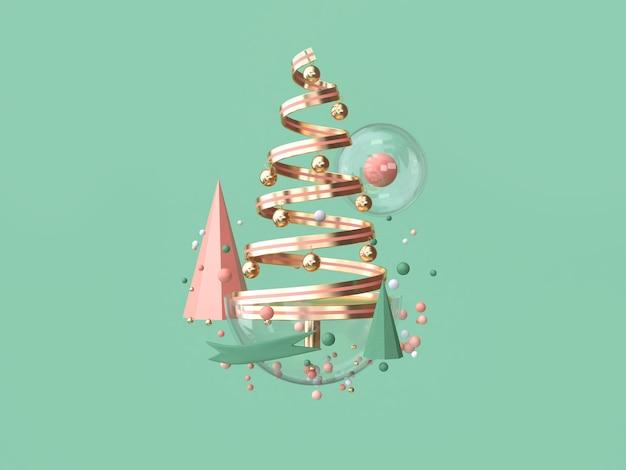 抽象的なピンクコイルリボンクリスマスツリー多くのオブジェクト装飾フローティングクリスマス