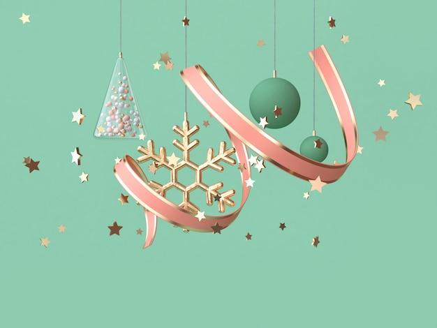 抽象的なピンクコイルリボン多くのオブジェクト装飾フローティングクリスマス