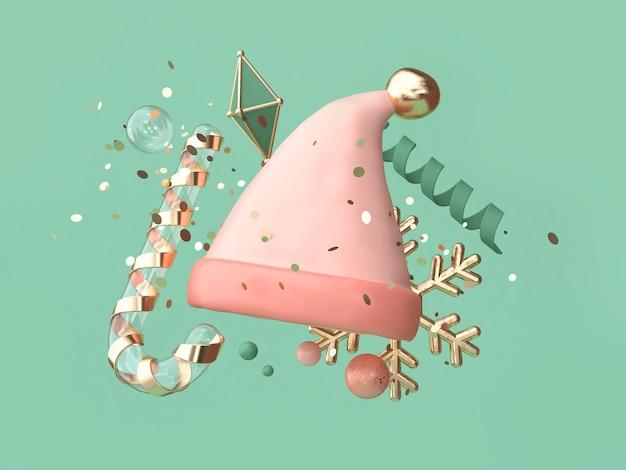 抽象的なピンクの帽子多くのオブジェクト装飾フローティングクリスマス