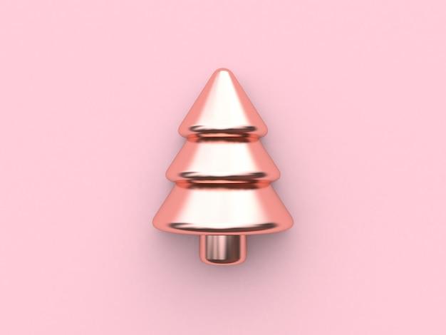 メタリックピンクの光沢のある反射抽象的なクリスマスツリーピラミッド幾何学的形状