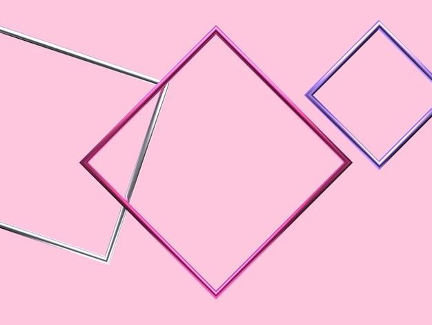 ピンクシルバーパープルメタリック幾何学的形状