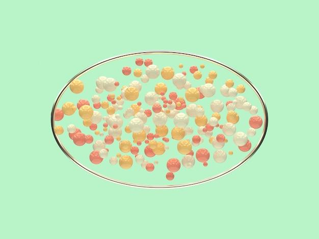 シルバーメタリックの幾何学的形状の空白フレーム多くのピンク、白、黄色のボール