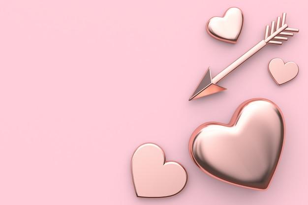 心と矢印の抽象的な金属バレンタインピンクの背景
