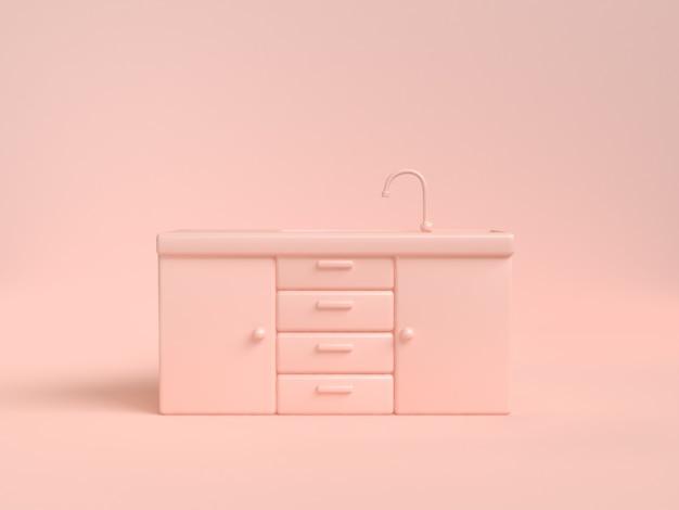Шкафчик кухонный раковина аннотация мягкий розовый кремовый рендеринг