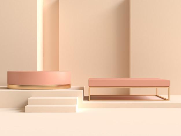 オレンジ色の幾何学的形状の最小限の抽象的な壁クリーム