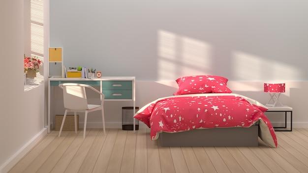 デスクトップの時計とペンテーブルの上にカラフルな装飾ピンクの壁の日光