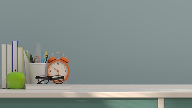 フルーツリンゴとペンと本のテーブルクロックカラフルな教育の概念