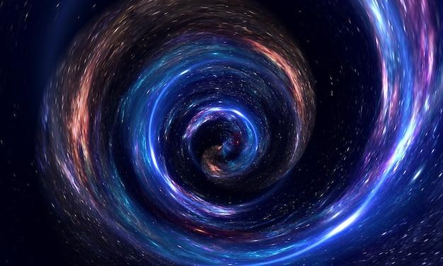 ガスと塵、銀河、星のある空間で抽象的なワームホール