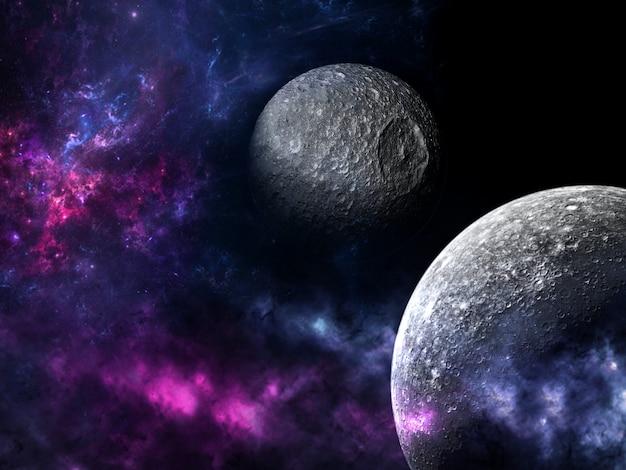 宇宙全体として存在するすべての既存の物質と空間。宇宙探査の美しさを示す宇宙の惑星、星、銀河のシーン。