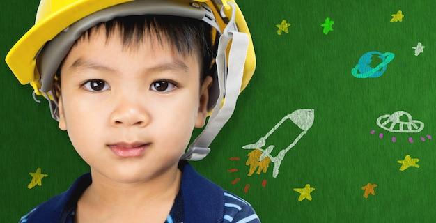 未来的な教育概念のための宇宙科学漫画のエンジニアリング少年