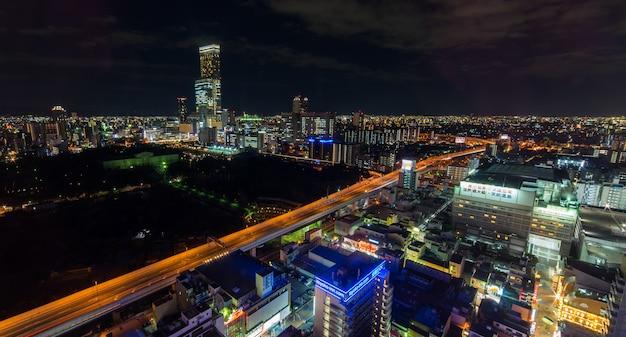 空撮から見た天王寺エリアの美しい夜景