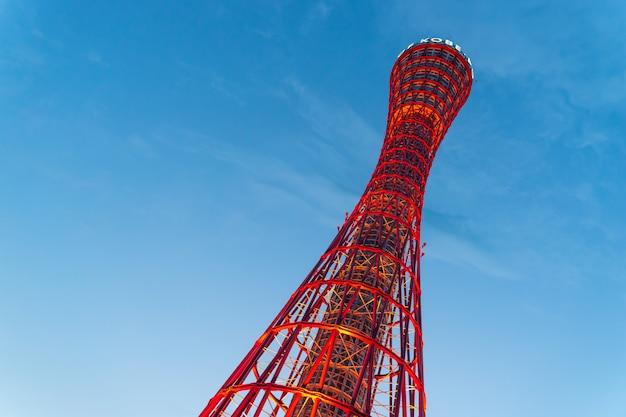 関西の基地から見た赤い神戸ポートタワー