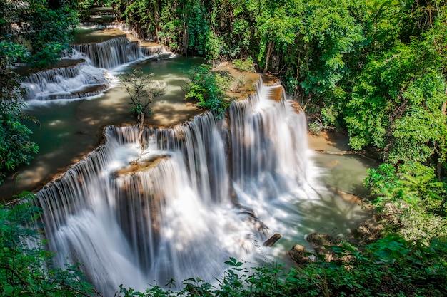 Красивый водопад пейзаж природа густого леса в летний день