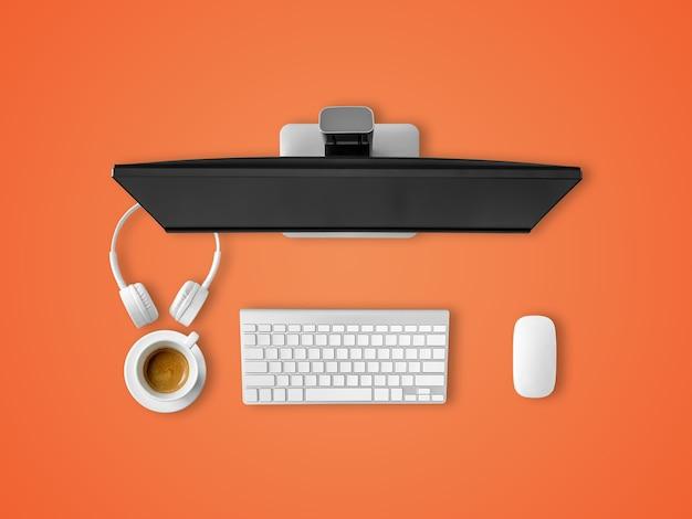 Вид сверху рабочего стола с клавиатурой и мышью для наушников для кофе.