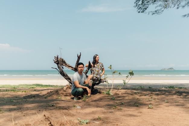 カップルは木の松の下のビーチで一緒に座っています。