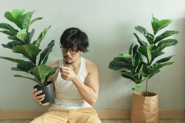 Одинокий человек дружит со своим деревом в квартире.