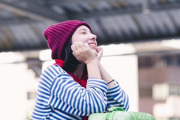 肖像画、美しい、若い、女の子、ロシア、楽しむこと、冬、バンコク、都市、タイ