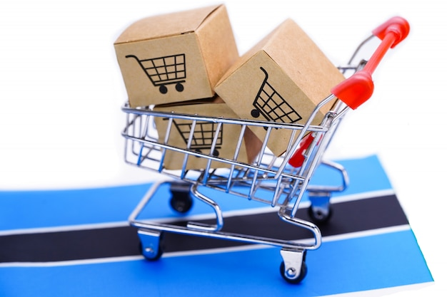 ショッピングカートのロゴとボツワナの旗の箱。