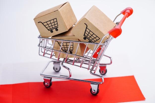 ショッピングカートのロゴとポーランドフラグボックス