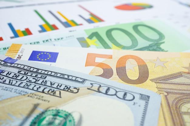 チャートグラフの背景紙に米ドルとユーロ紙幣のお金。