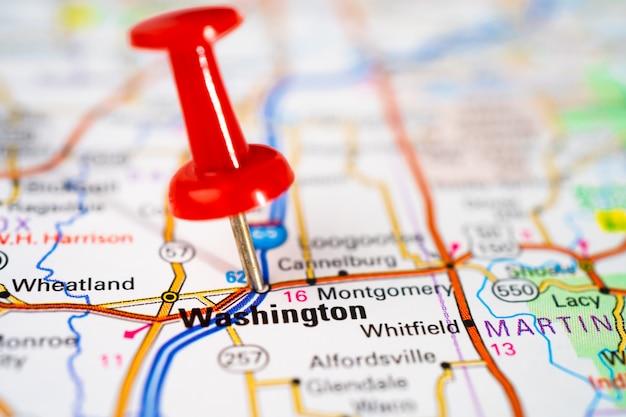 ワシントン、赤いプッシュピンの道路地図、アメリカ合衆国アメリカ合衆国の都市。