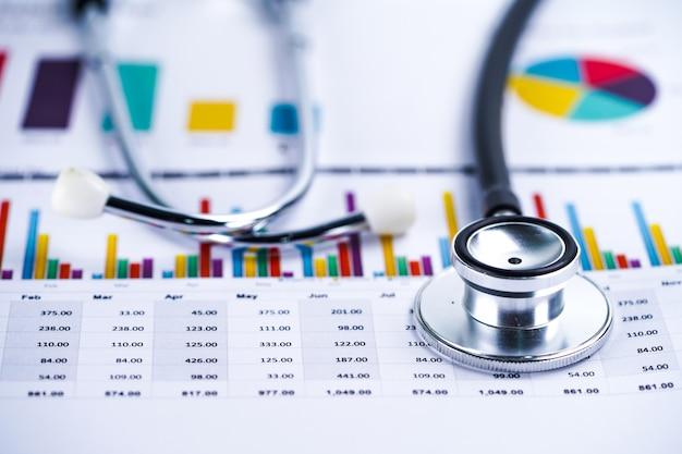 聴診器、チャートグラフ用紙、財務、アカウント、統計、分析経済