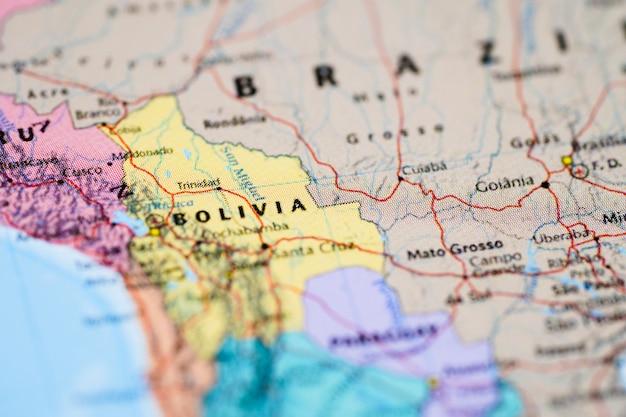 南アメリカの地図。
