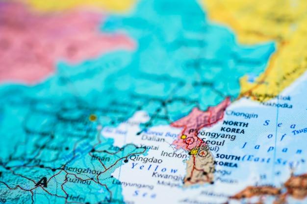 韓国、アジアの地図。