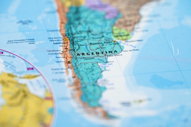 南アメリカ、アルゼンチンの地図
