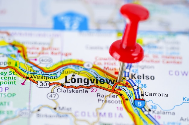 アメリカ合衆国のアメリカ合衆国の都市赤いプッシュピンとロングビューロードマップ。